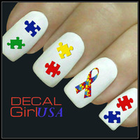 Nail Art Decals 50 Autism Awareness Nail Decals