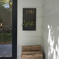 Schoolhouse Steel Planter with Brass House Numbers
