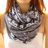 Elephands.. so soft  cotton infinity scarf. Loop by oceanscarf