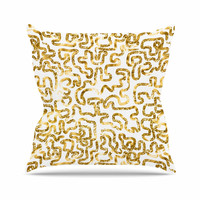 "Anneline Sophia ""Squiggles in Gold"" Yellow White Throw Pillow"
