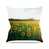 """Chelsea Victoria """"Sunflower Fields"""" Floral Photography Throw Pillow"""