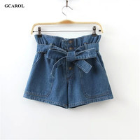 Women Bandage Waist Bowknot Denim Shorts High Waist Mini Shorts Jeans Fashion Causal Streetwear Summer Spring Plus Size Shorts