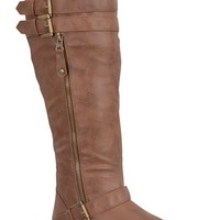TAN TEXTURED FAUX LEATHER KNEE HIGH FLAT RIDING BOOTS