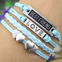 Light blue leather cord bracelet, heart to heart bracelet - LOVE bracelet, BESTFRIEND bracelet, girlfriend and BFF