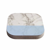 """Suzanne Carter """"Marble And Blue Block"""" Modern Gray Coasters (Set of 4)"""