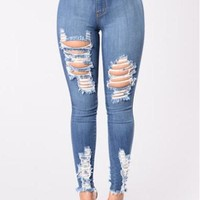 High Rise Ripped Skinny Jeans