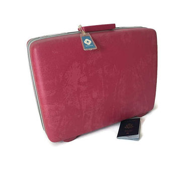 Samsonite Luggage Royal Traveller Hard Side Hot Pink Marble Suitcase Name Tags Labels and Keys 60's Hard Shell Mod Luggage