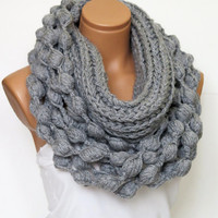 Knit infinity scarf, chunky infinity scarf, grey scarf, scarf, gray, crochet, fall, winter, crochet, valentines day, Gift For Her, Wrap