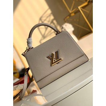 LV Louis Vuitton WOMEN'S LEATHER Twist One Handle Large SIZE SHOULDER BAG GRAY