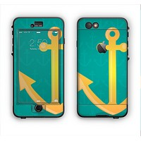 The Gold Stretched Anchor with Green Background Apple iPhone 6 Plus LifeProof Nuud Case Skin Set
