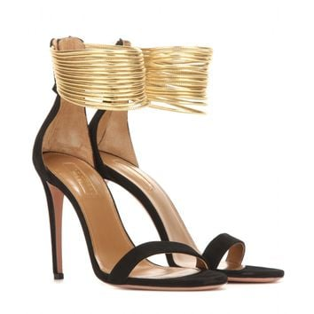 Spin Me Around 105 suede and metallic leather sandals