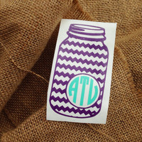 Monogram car decal initials chevron monogram border chevron sticker car monogram sticker chevron monogram car decal  mason jar aztec print