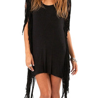 Black Fringe Tassel Backless Scoop Neckline Dress