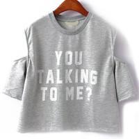 Are You Talking To Me? Cut-Out Shoulder Grey Crop Top