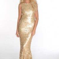 Gold Sequin Sleeveless Dress With Fishtail Hem #dress #sequin #mermaidskirt #embellishment #prom #chic #sparkles #partydress #metallic #gold