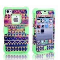 MagicSky Nebula Tribal Pattern Glow in the Dark Case for Apple iPhone 4 4S 4G - 1 Pack - Retail Packaging - Green