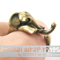 Elephant Animal Wrap Around Ring in Brass - Sizes 4 to 15 Available