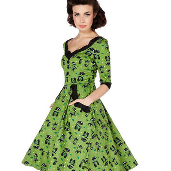Voodoo Vixen Green Cats in the Rain Swing Dress