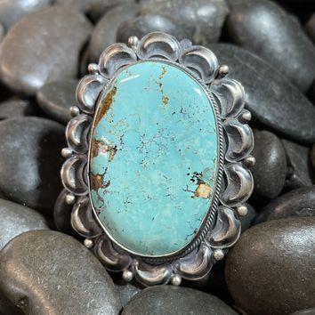 Huge Turquoise Oval Genuine Sterling Silver Ring