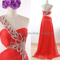 One Shoulder with Crystal Long Red Prom Gown, Sweetheart Red Formal Dresses with Silt, Chiffon Prom Dresses