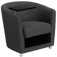 Flash Furniture Charcoal Gray Fabric Guest Chair with Tablet Arm Chrome Legs