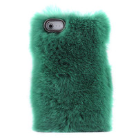 [grd03088]Unique Green Soft Fur Hard Cover Protective Case For Iphone 4/4s/5