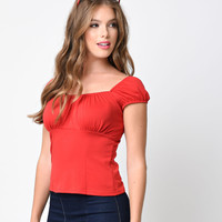 Retro Style Cherry Red Peasant Blouse