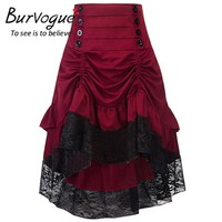 Burvogue Gothic Steampunk Skirt Clothing High Low Vintage Party Skirts Medieval Victorian Gothic Renaissance Skirts Longa Faldas