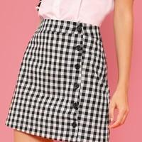 Button Up Gingham Skirt