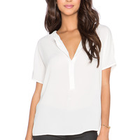 Bishop + Young Front Placket Blouse in White