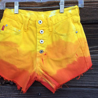 High Waisted Sunset Ombre Denim Shorts - Size 1