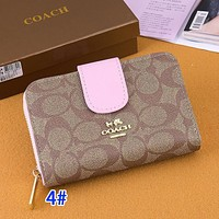 Coach Wallet Square Handbag Button Coin Purse Hight Quality Pink Buckle Strap