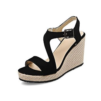 Women's Buckle Platform Wedge Sandals
