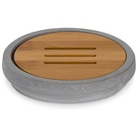Cement With Bamboo Wood Soap Dish Holder Tray Soap Holder With Drain