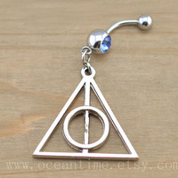 Harry potter Deathly Hallows Belly Button Rings,Navel Jewlery, Harry potter Deathly Hallows belly button ring,summer jewelry