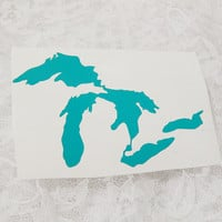 3.5x5 Inch Large Michigan Great Lakes Permanent Vinyl Decal/Bumper Sticker