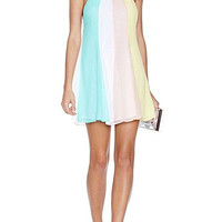 Chiffon Rainbow Camisole Mini Dress