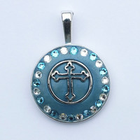 Blue and White Swarovski Crystals Surround This Beautiful Cross that are set in Blue Crystal Clay