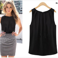 EXCLUSIVE Woman Blouses Sexy Sleeveless Chiffon Plus Size Ladies Blouses Casual Tops Clothing 2014 New Summer White Black
