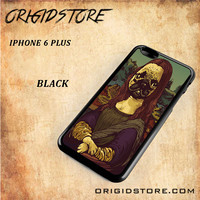 Monalisa Pug Dogs Paint Snap on Black White and 3D Iphone 6 Plus Case
