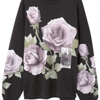 Dolce & Gabbana Grey rose print cotton sweatshirt
