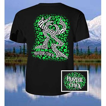 Sale Country Life Outfitters Hunter Chick Black & Green Cheetah Deer Head Hunt Vintage Bright T Shirt