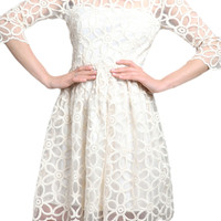 ROMWE Hollow Mesh Panel A-line Slim White Dress