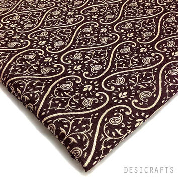 Choco and Beige Brocade Fabric by the Yard