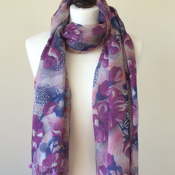 Purple Tassel Scarf, Linen Wrap Scarf, Floral Spring Foulard, Flowers Printed Scarf, Women's Accessory, Women's Gift, Christmas Gift
