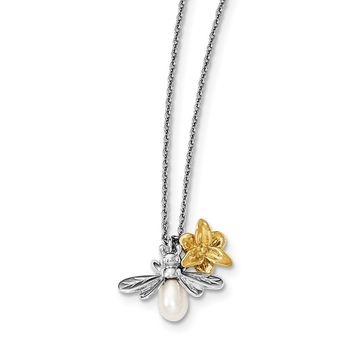 "Sterling Silver White Ice Diamond Gold-Plated Flower & Cultured Pearl Bee 15"" Necklace"