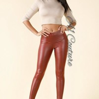 Tameika Burgundy Leather Leggings