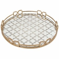 Notable Round Decorative Tray, Gold-A and B Home