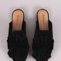Bamboo Knotted Bow Suede Pointy Toe Mule Loafer