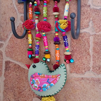 Cute little Hanger. Decorated with Doll for home decoration, Handmade In Folk Style of  HMONG hill tribes of Lanna Country.